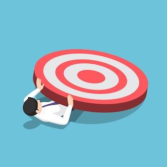 Плоский 3d изометрические бизнесмен раздавлен большой целью. неудача бизнес-цели и концепция.