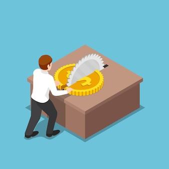 フラット3dアイソメトリックビジネスマンは、テーブルソーでコインを半分にカットしました。経費削減とコスト削減のコンセプト。