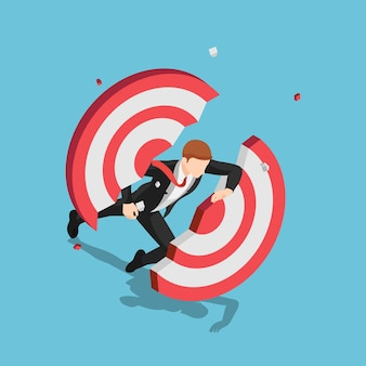 Flat 3d isometric businessman dashing through and breaking target. business success and leadership concept.