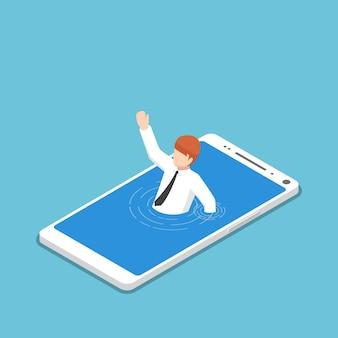 スマートフォンに溺れているフラット3dアイソメトリックビジネスマン。スマートフォンまたはモバイル中毒の概念。