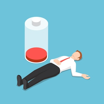 Flat 3d isometric businessman fainting on the floor with low energy battery. stress and overwork concept.
