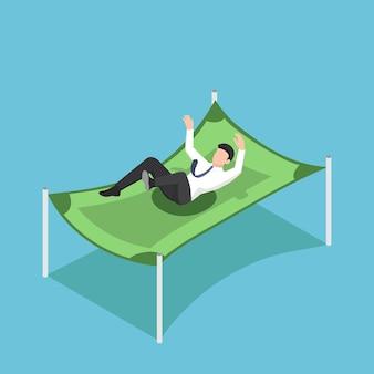 ドル紙幣で空から落ちるフラット3dアイソメトリックビジネスマン。準備金と財務保護の概念。