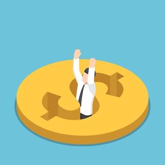 1ドル硬貨の穴に落ちるフラット3dアイソメトリックビジネスマン。金融危機と破産の概念。