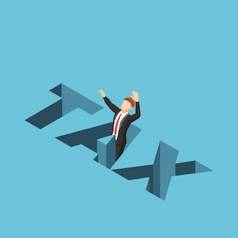 Плоские 3d изометрические бизнесмен, попадающий в налоговую дыру. бизнес-налоговая концепция.