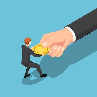 Flat 3d isometric businessman fighting with big business hand for golden coin