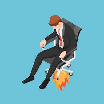 Плоские 3d изометрические бизнесмен, взлетающий с его реактивного кресла. получите повышение или уволите концепцию