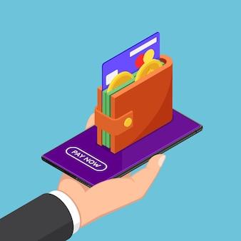 Плоские 3d изометрические бизнесмен рука смартфон с кошельком и кредитной картой на экране. электронный кошелек и концепция мобильных платежей.