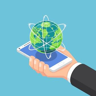 평면 3d 아이소메트릭 사업가 손을 잡고 세계 및 글로벌 네트워크와 스마트폰. 인터넷 연결 및 글로벌 통신 개념입니다.