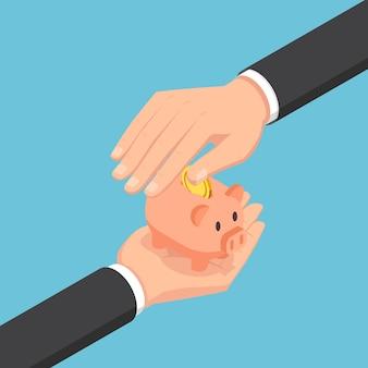 돼지 저금통을 보호하는 평면 3d 아이소메트릭 사업가 손. 저축 및 보호 돈 개념입니다.