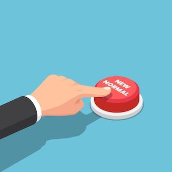 フラット3dアイソメトリックビジネスマンの手が新しい通常のボタンを押します。 covid-19またはコロナウイルスの概念後の新しい正常な動作。