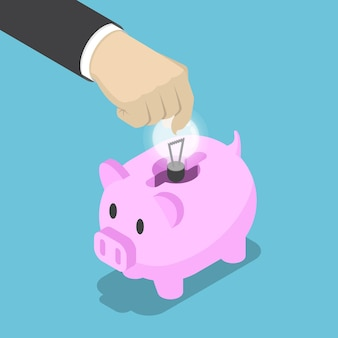평평한 3d 아이소메트릭 사업가 손은 아이디어의 전구를 돼지 저금통에 넣었습니다. 에너지 절약 및 아이디어 개념