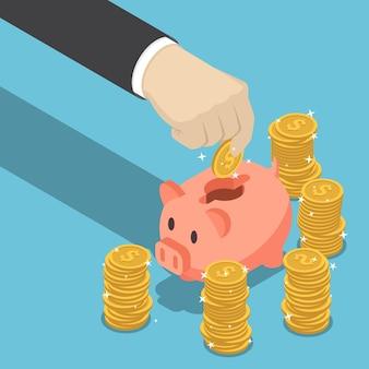 평면 3d 아이소메트릭 사업가 손으로 달러 동전을 돼지 저금통에 넣습니다. 금융 및 돈 절약 개념입니다.