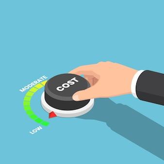フラット3dアイソメトリックビジネスマンの手でコストダイヤルを低い位置に回します。コスト削減管理の概念。