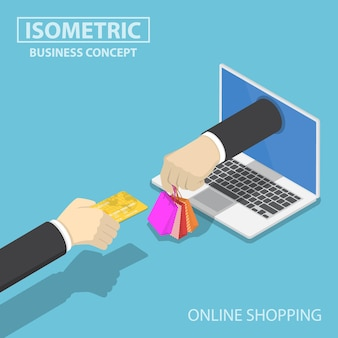 Flat 3d isometric businessman hand use credit card to shopping online. e-commerce and online shopping concept.