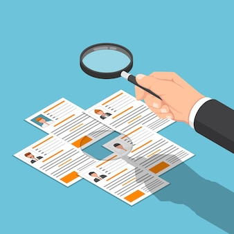 Flat 3d isometric businessman hand viewing resume with magnifying glass. recruitment business and human resources management concept.