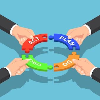 計画を保持しているフラット3dアイソメトリックビジネスマンの手は、行為のジグソーパズルをチェックします。 pdcaビジネス管理のコンセプト。 Premiumベクター