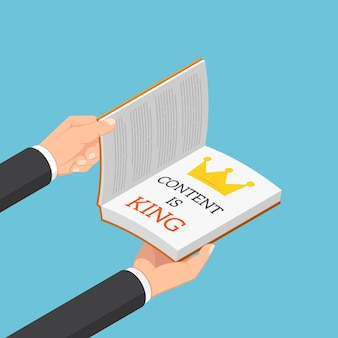 평평한 3d 아이소메트릭 사업가는 content is king이라는 캡션이 있는 책을 엽니다. 콘텐츠는 왕 개념