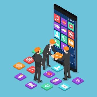 플랫 3d 아이소메트릭 사업가는 모바일 응용 프로그램을 빌드하는 데 서로 돕습니다. 모바일 앱 개발자 개념입니다.