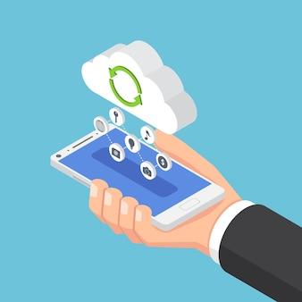 플랫 3d 아이소메트릭 사업가가 스마트폰을 들고 클라우드로 데이터를 보냅니다. 클라우드 컴퓨팅 기술 개념입니다.
