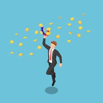 お金のコインを引き付けるために磁石を保持しているフラット3dアイソメトリックビジネスマン。ビジネスの利益と収入の概念を増やします。