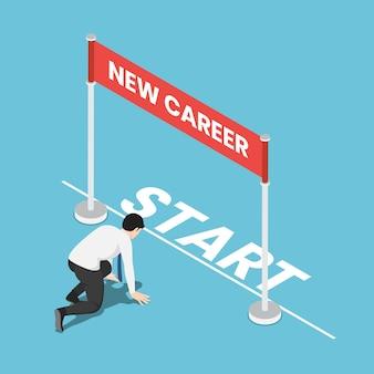 Плоский 3d изометрический бизнесмен в стартовой позиции и готов к своей новой карьере