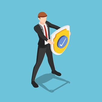 Flat 3d isometric businessman is holding a shield with check mark