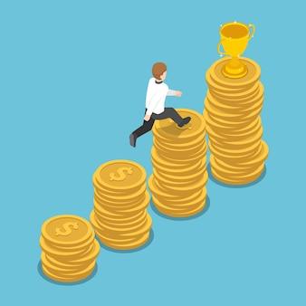 평평한 3d 아이소메트릭 사업가는 금색 트로피를 얻기 위해 동전 스택 그래프의 맨 위로 점프합니다. 비즈니스 성공과 금융 개념입니다.