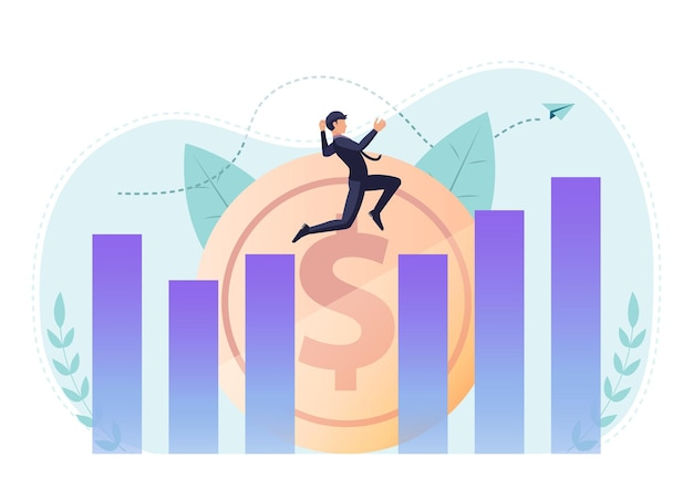 Flat 3d isometric businessman jumping across gap between graph to reach higher point. leadership and business success concept.