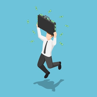 Flat 3d isometric businessman jumping and celebrating with suitcase full of money. business success concept.