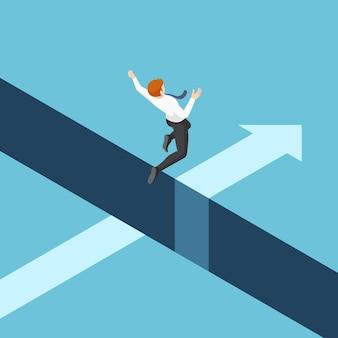 평평한 3d 아이소메트릭 사업가가 절벽 사이의 틈을 뛰어 넘습니다. 비즈니스 위험 및 리더십 개념입니다.