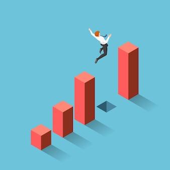 평면 3d 아이소메트릭 사업가 그래프 사이의 간격을 통해 점프. 비즈니스 도전과 위험 개념입니다.
