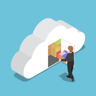 평평한 3d 아이소메트릭 사업가는 구름 모양의 방에 파일을 보관합니다. 클라우드 컴퓨팅 개념입니다.