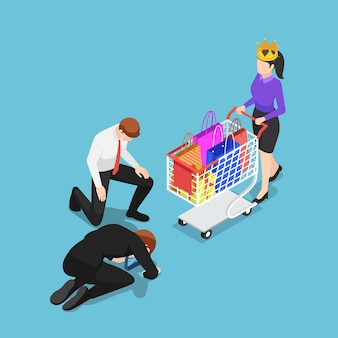 Flat 3d isometric businessman kneeling in front of customer with crown customer is king concept
