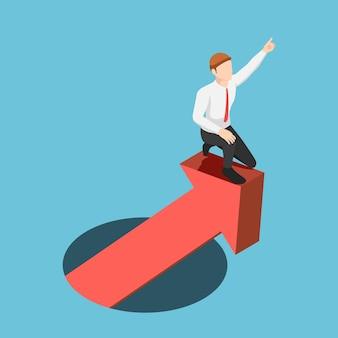 구멍에서 상승 금융 그래프를 선도하는 평면 3d 아이소 메트릭 사업가. 비즈니스 성공과 리더십 개념입니다.