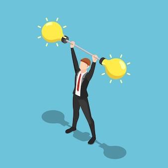 평면 3d 아이소메트릭 사업가 아이디어 바벨 무게를 들어 올립니다. 사업 아이디어와 리더십 개념입니다.