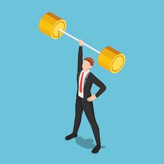 片手でバーベルを持ち上げるフラット3dアイソメトリックビジネスマン。ビジネス力とリーダーシップの概念。