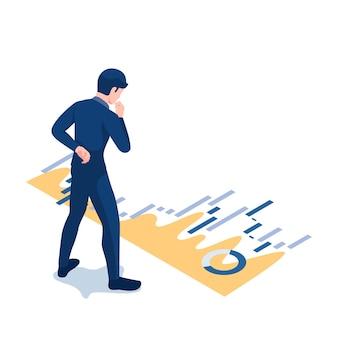 財務グラフと思考を見てフラット3dアイソメトリックビジネスマン。ビジネスと財務分析の概念。