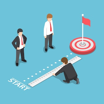 Flat 3d isometric businessman measuring distance between start point and target. business target analysis concept Premium Vector