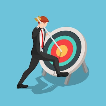 Flat 3d isometric businessman pinned arrow at the center of target