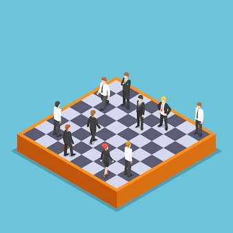 ビジネスチェスをしているフラット3dアイソメトリックビジネスマン。ビジネスとマーケティング戦略の概念。