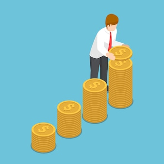 Flat 3d isometric businessman put coin to growth stack of coins. saving money and investment concept.
