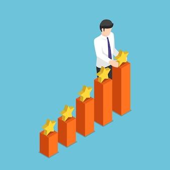 成長ビジネスグラフの上に星を置くフラット3dアイソメトリックビジネスマン。ビジネスの成功と評価の概念。