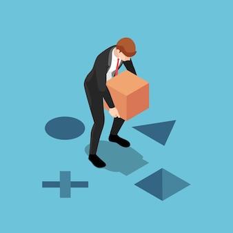 Плоский 3d изометрический бизнесмен помещает квадратную коробку в правое отверстие бизнес-решение