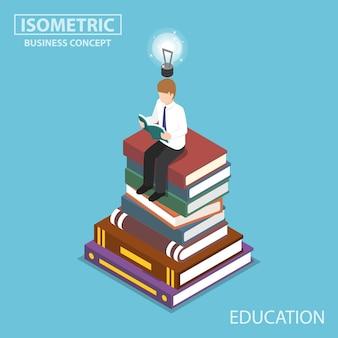 평평한 3d 아이소메트릭 사업가가 책 더미의 맨 위에서 읽고 있습니다. 교육 및 학습 개념입니다.