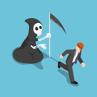 Flat 3d isometric businessman running away from angel of death. business deadline concept.