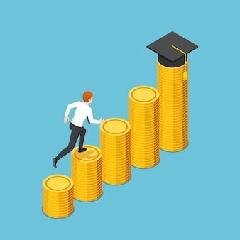 Flat 3d isometric businessman running to graduation cap on the highest stack of golden coin. investment in education concept.