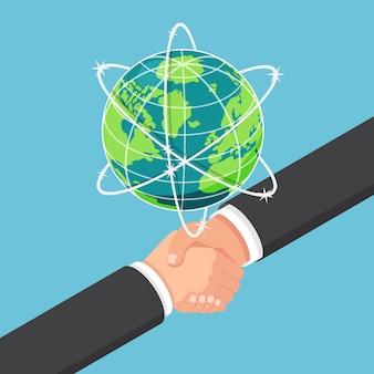 평평한 3d 아이소메트릭 사업가는 지구 아래에서 파트너십과 악수합니다. 국제 비즈니스 협업 및 팀워크 개념입니다.