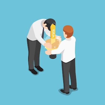 Flat 3d isometric businessman share idea to his friend. business idea and teamwork concept.