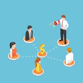 Flat 3d isometric businessman shout on megaphone with people on referral marketing network. referral and affiliate marketing concept.