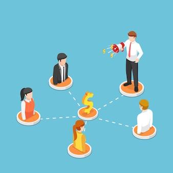 Плоские 3d изометрические бизнесмен кричат на мегафон с людьми в реферальной маркетинговой сети. концепция реферального и партнерского маркетинга.